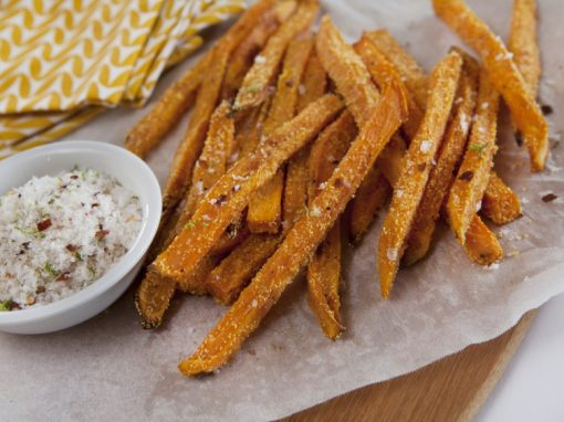 Polenta Sweet Potato Fries w/Chilli Lime Salt