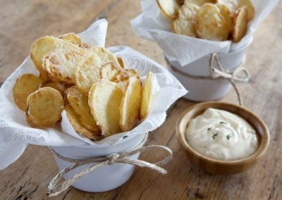 Baked Potato Chips w/Lemon Thyme Aioli