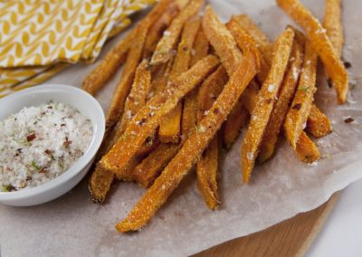 Polenta Sweet Potato Fries w/Chilli Lime Salt